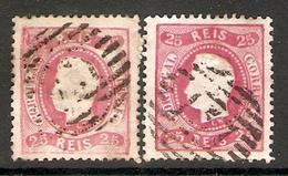 001258 Portugal 1867 Luiz 20 Reis FU X2 Shades - 1862-1884 : D.Luiz I