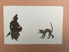 AK  SILHOUETTE  POSTCARD  KATZE  KATZEN  CATS - Scherenschnitt - Silhouette