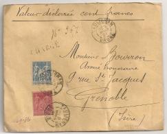 TAULIGNAN Drome Sur Enveloppe Chargée Au Type SAGE Pour GRENOBLE. - 1877-1920: Période Semi Moderne