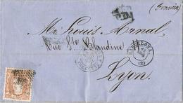 24603. Envuelta BARCELONA A Lyon (Francia) 1870. Franqueo 12 Cuartos Alegoria - Cartas
