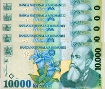 ROUMANIE 10000 LEI 1999 (2001) P-108a NEUF 5 PCS [RO108a] - Romania