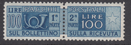 Italia 1947 - Pacchi Postali 100 Lire, Fil. Ruota I Tipo DA Sass. 77/I Dentellatura 13¼ X 14 ** MNH - 1946-.. République