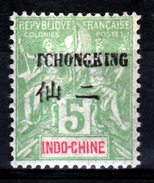 """Tchong-King (French China), """"Groupe"""" Overprint, 1903, MH VF - Unused Stamps"""