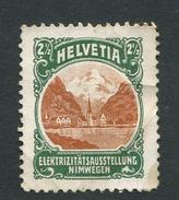 """Helvetia Elektrizitatsausstellung Nimwegen Reklamemarke Poster Stamp Vignette No Gum 1 X 1 1/4"""" - Cinderellas"""