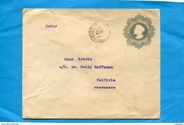 CHILI-Postal Stationery-  Lettre Entier Postal- **5c  Gris -Colon-cad Pueto Montt 1910>Valdivia - Chile