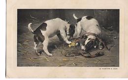 """Illustration  Signée  C.  Reichert  .   """"  La  Musellère  A  Papa  """"     2  Jack  Russells    Jouent - Chiens"""