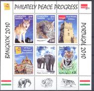 2010. Tajikistan, Animals, Philatelic Exhibitions Bangkok 2010 & Portugal 2010, S/s Perforated, Mint/** - Tadschikistan