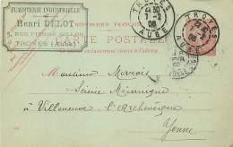 FUMISTERIE INDUSTRIELLE HENRI DELOT 5 RUE PIERRE GILLON TROYES  POUR VILLENEUVE L'ARCHEVEQUE - Marcofilie (Brieven)