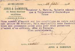 MECANICIEN JORIS ET DAMBRUN 23 BLD RICHARD LENOIR PARIS POUR MR MAROI SCIERIE A VILLENEUVE L'ARCHEVEQUE - Poststempel (Briefe)