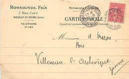 ROSSIGNOL ET FILS 7 RUE CAVE NEUILLY SUR SEINE POUR MR MAROI SCIERIE A VILLENEUVE L'ARCHEVEQUE - Poststempel (Briefe)