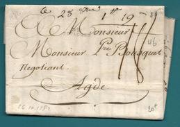 Haute Garonne - Toulouse Pour Agde (Hérault). LAC De 1782. Grose Taxe - 1701-1800: Precursors XVIII