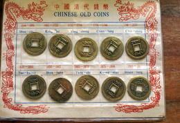 CHINA, 10 OLD CHINESE COINS IN SOUVENIR FOLDER - Cina