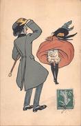 * Illustrateur PLUM Série N° 124/3  Coup De Vent Culotte N° 606 Femme Et Homme à Chapeau - Other Illustrators