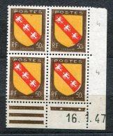 2906  FRANCE  N° 757**  Lorraine  60c  Du 16/1/47     TTB - Dated Corners