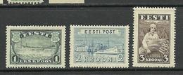 Estland Estonia 1935-1940 Kroon-currency Stamps (1,2,3 Kroon) * - Estland