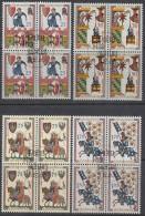 LIECHTENSTEIN  433-436, 4erBlock, Gestempelt, Minnesänger 1963 - Blocs & Feuillets