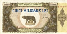 * ROMANIA 5 MILLION LEI 1947 P-61a UNC [RO061] - Romania