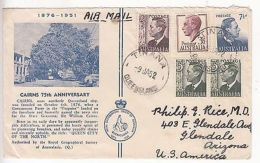 Australia: GVI Airmail Cover, Cairns 75th Anniversary; Tinana-Glendale 9 Ja 1952 - Postmark Collection