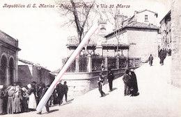 Répubblica Di SAN MARINO - Piazza Garibaldi E Via 25 Marzo - Carte Très Animée - Saint-Marin
