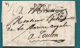 Haute Garonne - Toulouse Pour L'intendant De La Marine Royale à Toulon (VAR). LAC De FEVRIER 1828 En Port Payé. - Postmark Collection (Covers)