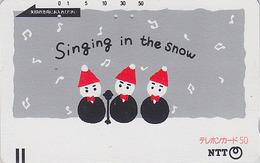 Télécarte Ancienne Japon / NTT 330-059 - BONHOMME DE NEIGE / Peinture - SNOWMAN Singing - Japan Front Bar Phonecard - Japan