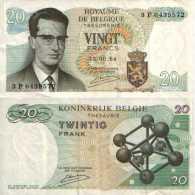 BELGIUM BELGIQUE 20 FRANCS 1964 (Sig Kestens) - Pick 138 (c) TTB (VF) - Sin Clasificación