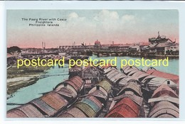 THE PASIG RIVER WITH CASCO FREIGHTERS, Philippines. OLD POSTCARD  C.1910 #636. - Philippines