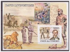 0526 Comores 2008 David Livingstone Explorer Lion S/S MNH Imperf - Onderzoekers