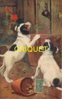 Animaux, 2 Chiens épagneuls Et Un Escargot, Pots De Fleurs...., Carte Tuck's Série When Dogs Are Puppies - Chiens