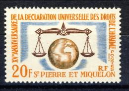 S. Pierre Et Miquelon 1963 N. 370 Fr. 20 Diritti Dell'uomo MNH Catalogo € 8,10 - St.Pierre & Miquelon