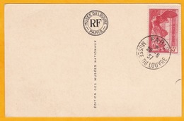 1937 - CP Avec Samothrace YT 355 - 55 C Rouge - Oblitération Musée Du Louvre - Vue: La Joconde De Léonard De Vinci - Poststempel (Briefe)