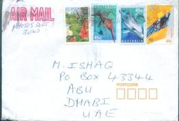 D154- Cover Posted From Australia To Abu Dhabi. UAE. Dinourse. Dolphan. Flower - Australia