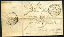 ISERE : Pli De St MARTIN De 1833 En Port Du Avec Marque P.37.P. PONT-EN-ROYAN + CàD St MARCELIN Pour GRENOBLE - Marcophilie (Lettres)