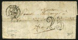 ALGERIE : Pli De DOUERA De 1844 En Port Du Avec CàDate Type 15 De DOUERA ALGERIE (66) P SANCERRE - Marcophilie (Lettres)