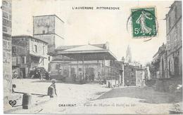CHAURIAT:PLACE DE L'EGLISE ET HALLE AU BLE - France