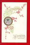 1 Cpa Carte Postale Ancienne - Bonne Annee Relief Gaufrer - Nouvel An
