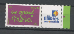 """FRANCE - PERSONNALISÉS -  UN GRAND MERCI -  N° Yvert  3637A** LOGO """"LES TIMBRES PERSO"""" - Personalized Stamps"""