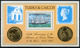 Turks And Caicos Islands, 1987, Queen Victoria, Sailing Ship, Coins, MNH, Michel Block 68 - Turks And Caicos