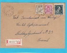 N° 696 + Petit Sceau / Enveloppe En Recommandé De BXL 4 - 1934-1935 Léopold III