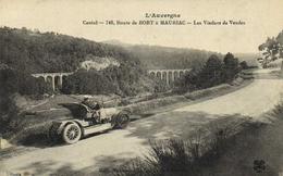 Cantal Route De BORT à MAURIAC  Les Viaducs De Vendes 1er Plan Belle Voiture Ancienne Old Car Recto Verso - Other Municipalities