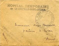 """WWI -  Enveloppe En Franchise  """" HOPITAL TEMPORAIRE / De La Chapelle-Saint-Mesmin"""" ( Loiret  ) - 1. Weltkrieg 1914-1918"""