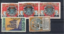 LOT DE 5 VIGNETTES ERINNOPHILIE - FOIRE DE SENS 1930 / 1931 / 1932 - FOIRE DE MEAUX ET EXPOSITION DU TRAVAIL ST QUENTIN - Commemorative Labels