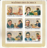 Comores  2008  Famous Chess Champions  Viswanathan Anand Of India And Other Players  6v  MNH S/S  # 93359 - Chess