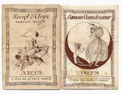 LOT 2 Cartes Parfumées - Parfum ARYS - Secret D'Arys, L'Amour Dans Le Coeur - Anciennes (jusque 1960)