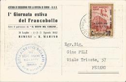 RIMINI-SAN MARINO-1 GIORNATA ESTIVA DEL FRANCOBOLLO 1942-SOTTO IL PATROCINIO DEL RESTO DEL CARLINO - Rimini
