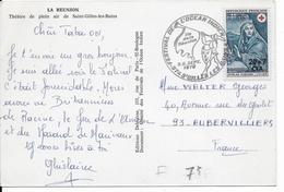 REUNION - 1970 - CACHET COMMEMORATIF ILLUSTRE - CARTE De ST GILLES LES BAINS  => AUBERVILLIERS - FESTIVAL - Reunion Island (1852-1975)