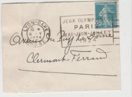 OY182 /  FRANKREICH - OLYMIADE - Paris 1924, Werbung Maschinenstempel Lyon-Gare - Summer 1924: Paris