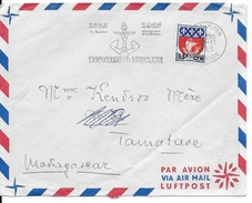 REUNION - 1965 - OBLITERATION MECANIQUE - ENVELOPPE Par AVION De LE TAMPON => TAMATAVE (MADAGASCAR) - TRICENTENAIRE - Reunion Island (1852-1975)