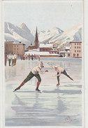 Davos - Pattinaggio A Velocità - Firmata Pellegrini.         (A-43-150113) - Autres Illustrateurs