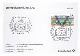 Germany Stempelsammlung 2009 - Erfurt Alten Synagoge   (T19-24) - Cartas
